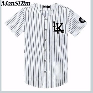 Man si Tun New Summer Style Mens T shirts Fashion 2017 Streetwear Hip Hop baseball jersey striped shirt Men Clothes tyga M-XXL