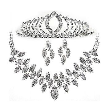 [18.00] In Stock Glamorous First Class Austrian Diamonds & Alloy Necklace & Earrigs & Tiara For Your Fabulous Wedding Dress - dressilyme.com