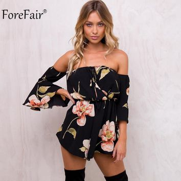 ForeFair Summer Floral Print Elastic Waist Chiffon Jumpsuit Women Autumn Flare Sleeve Sexy Strapless Rompers Overalls for Women