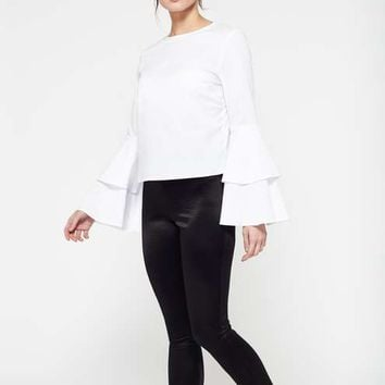 Poplin Flute Sleeve Blouse - View All - Apparel