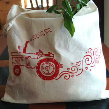 SMALL Tote/Gift Bag - Tractor Love Farm Girl - Hand Screen Printed Red