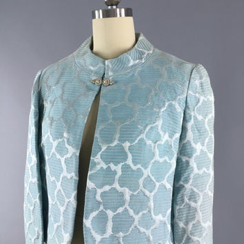 Vintage 1960s Jacket / 60s Cropped Coat / Pastel Blue Brocade / Floral Print / Cocktail Formal / Wedding / Size Small S Medium M