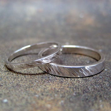 His and Hers Sterling Silver Wedding Bands  - Silver Bands - Rustic Wedding Bands - Wedding Rings