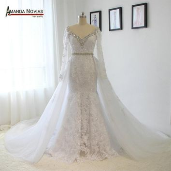 V-Neck Long Sleeve Lace Rhinestones Crystal Wedding Dress With Removable Skirt