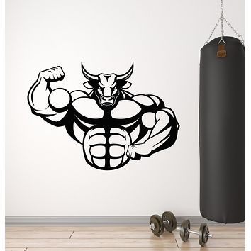 Vinyl Wall Decal Bull Aggression Fitness Beast Strength Sports Gym Stickers Mural (g2843)