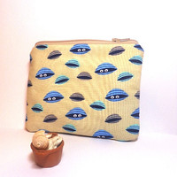 Small Pouch Small Wallet Small Coin Purse  Blue Clamshells on Sand