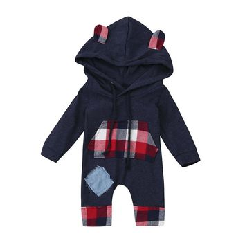 Winter warm Newborn Baby Romper Cute Kids Baby Bear Grid Hoodie Boys Girls Outfits Clothes Jumpsuit Body Menina