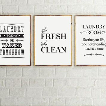 3 Pieces unframed Black and White Laundry Nordic home Decor Poster Painting Wall Art Pictures Printed Canvas living room