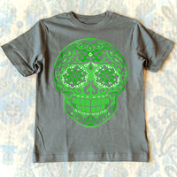 Kids Clothes Gray and Green Tattoo Skull Shirt for Boys. Size 4 5 6 7 Short Sleeve Cotton Tshirt Gunmetal with Sugar Skull print