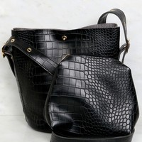 Snake Skin Shoulder Bag Black
