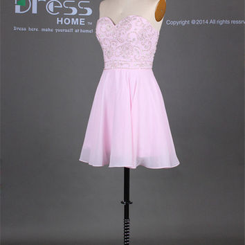 Custom Made Pink Sweetheart Beading Chiffon Short Homecoming Dress/Short Flowy Prom Dress/Sexy Mini Party Dress/Graduation Dresses DH253