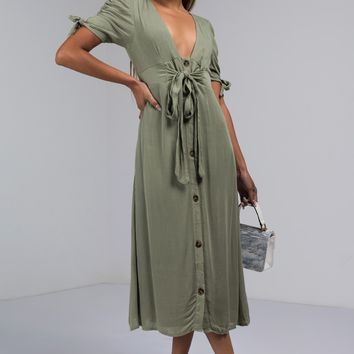 AKIRA Label Deep V Neck Tie Front Midi Linen Dress in Sage
