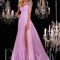Panoply 14763 Beaded Sleeves Formal Prom Gown