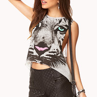 FOREVER 21 Tough Tiger Muscle Tee Heather Grey/Black Large