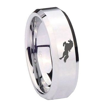 8mm Horse Beveled Edges Silver Tungsten Carbide Anniversary Ring