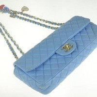 Chanel Classic Blue Valentine Lambskin Shoulder bag