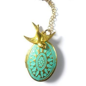Vintage Inspired Teal Patina Brass Locket by ohdeercreations