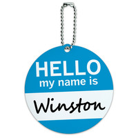 Winston Hello My Name Is Round ID Card Luggage Tag