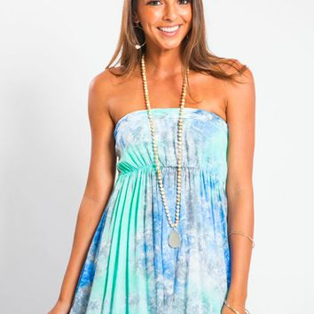 Tiare Hawaii Isabella Braided Dress Blue/Teal Smoke
