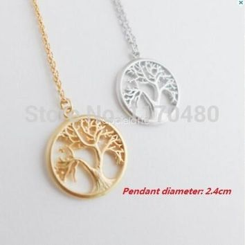 2017 New Fashion Tree Silver Long Chain Small Pendant Necklace Tree of Life Plant Necklaces for Women Dainty Jewelry -N121