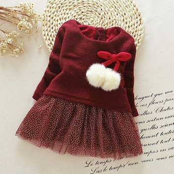 New Arrive Autumn Dress Newborn Girl Dress 2017 New Sequins Baby Girls Long Sleeve Knitted Bow Infants Tutu Princess Dress