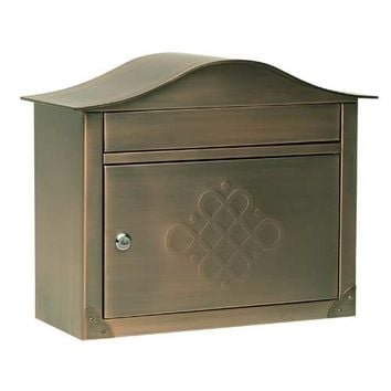 Architectural Mailboxes 2402ACE Peninsula Antique Copper Mailbox with Embossed Door