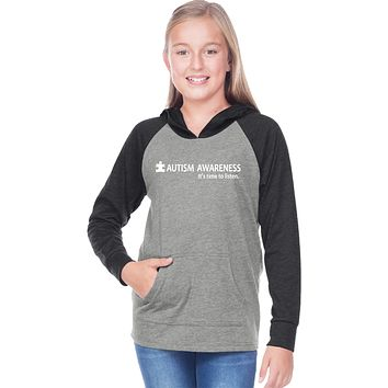 Buy Cool Shirts Autism Awareness Time to Listen Girls Long Sleeve Hoodie
