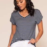 Tommi Striped Tee - Navy
