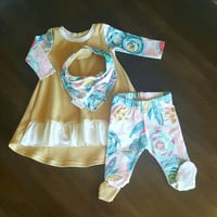 Baby Girl ruffle dress, footie leggings and bib set! Floral. Mustard yellow. Drool bib. Bandana bib. Size 0-3 mo. READY TO SHIP!!