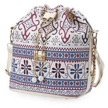 Ethnic Boho Canvas Drawstring Bucket Bag Shoulder Handbags Women Messenger Beach Bags Bolsa Feminina Bolsos Ladies