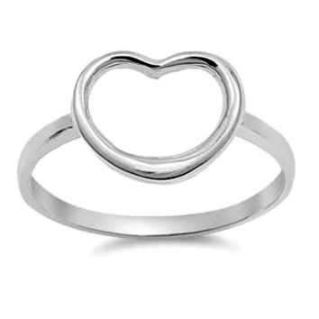 .925 Sterling Silver Large Open Heart Ring Ladies size 4-10