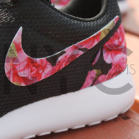 Nike Roshe Run Black Bohemian Rose Print Custom Men & Womens