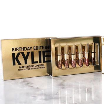 Gold Tone Kylie Lip 6 colors 6pcs Set Matt Cup Lip Gloss