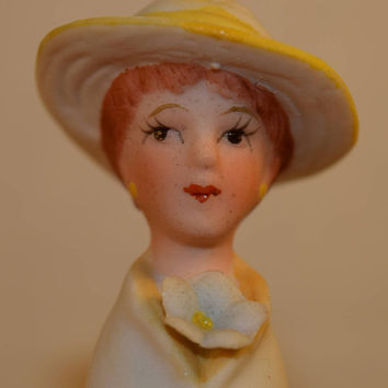 Enesco Bisque Lady Thimble Vintage Yellow Hat Lady Head Thimble Blue Flower Porcelain Thimble Shabby Chic Dresser Vanity Decor