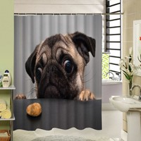 Dog Animals Design Polyester Fabric Shower Curtain 180x180 cm Waterproof and Mildewproof Bathroom Curtains for Kids Bath Decor