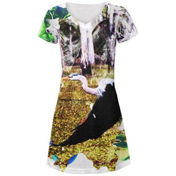 LMFCY8 Great Blue Heron Abstract Paint All Over Juniors Beach Cover-Up Dress