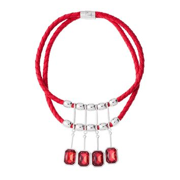 Bright Red Woven Statement Necklace.