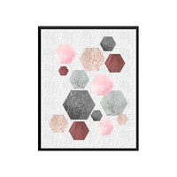 Geoemtric art, abstract wall print, watercolor poster, scandinavian design, hexagon print, home decor, pastel colors, minimalist art print.