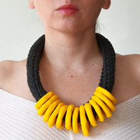 Chunky Necklace, Tribal Necklace, Ethnic Jewelry, Bold Necklace, Yellow necklace, Fall Fashion