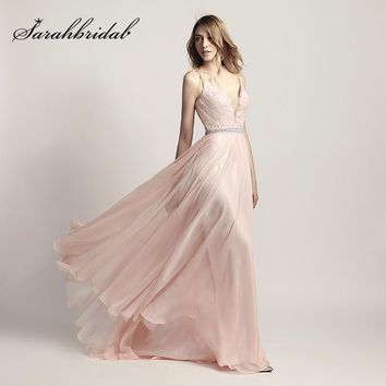 New Arrival V-Neck Long Prom Dresses Chiffon Beading Sleeveless Floor Length Evening Dress Cheap in Stock Party Gowns OL466
