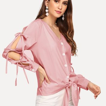 Pink Solid Knot Blouse