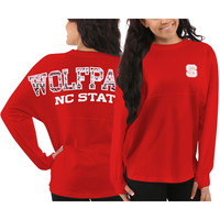 NC State Wolfpack Women's Aztec Sweeper Long Sleeve Oversized Top - Red