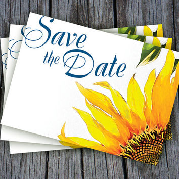 Yellow Stunning Sunflower Save The Date Postcard-blue and yellow