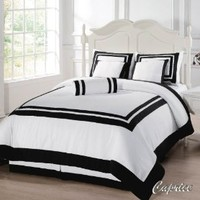 Chezmoi Collection 7 Piece Square Pattern Hotel Duvet Cover Bedding Set, Full/Double, White/Black