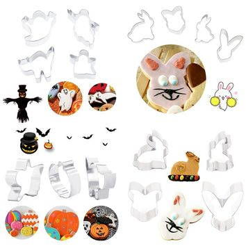 3pcs/4pcs Cooking Tools for Cake Stainless Steel Cookie Cutter Pumpkin Cat Rabbit Shape Biscuit Chocolate Mold Stencil