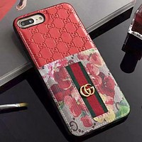 GUCCI New fashion stripe floral more letter leather couple protective case phone case