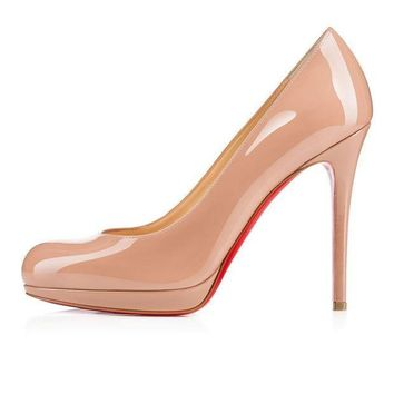 PEAPUX5 christian louboutin cl new simple pump nude patent leather 120mm stiletto heel classic