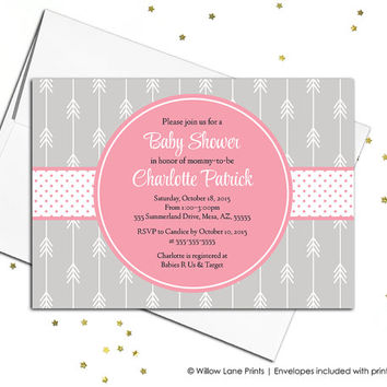 Arrow baby shower invitations for girls - pink gray baby shower with arrows invite - boho baby shower invitations - WLP00741