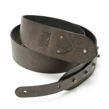 The Signature Guitar Strap - Distressed Black Leather