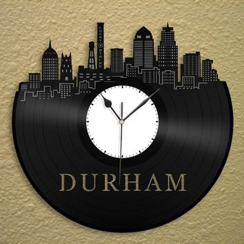 Durham NC Skyline Durham Record Clock Vinyl Skyline Wall Decal Durham Art Clock Modern City Skyline Durham Retro Clock Housewarming Gift